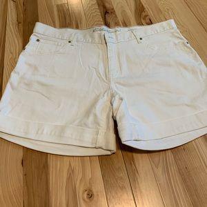 Eddie Bauer White Jean Shorts Size 16